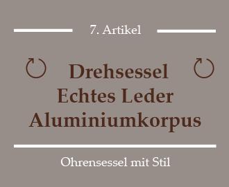 Dreh Ohrensessel - Echtes Leder und Aluminiumkorpus