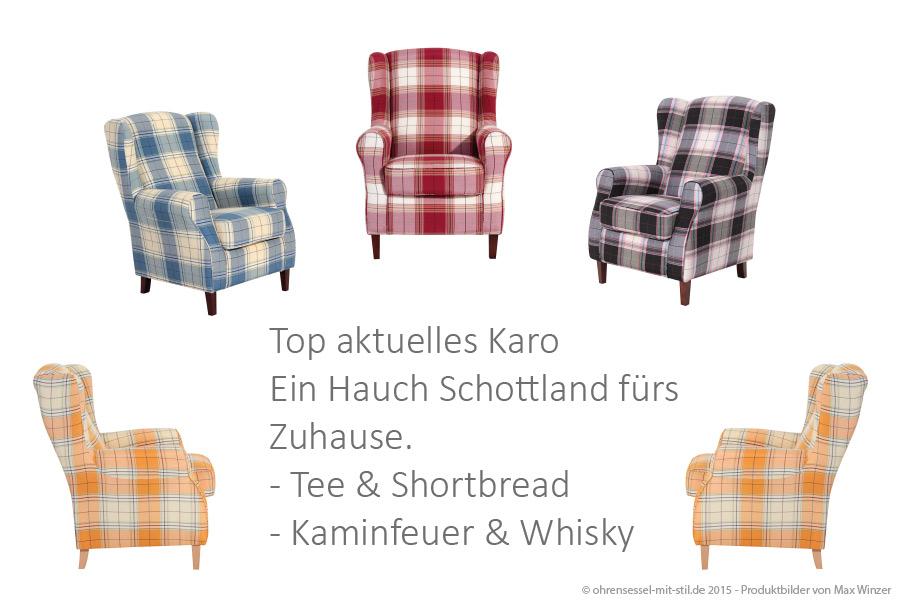 Ohrensessel Max Winzer Karomuster Karobezugsstoff auf ohrensessel-mit-stil.de