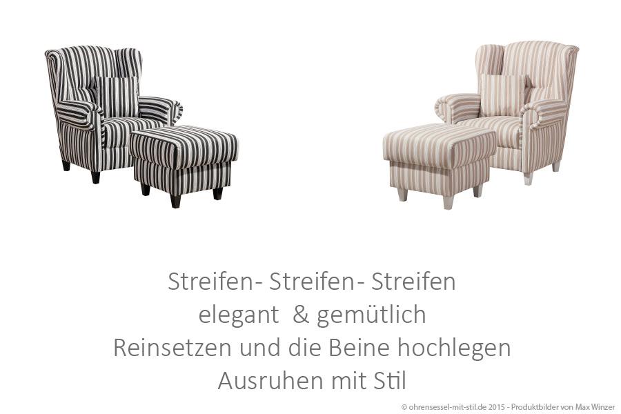 Ohrensessel Max Winzer Streifen - schwarz-weiss auf ohrensessel-mit-stil.de