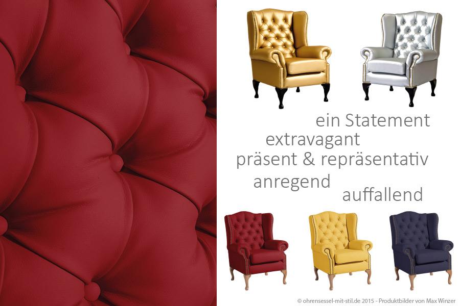 Ohrensessel Max Winzer Gold und Silber Chesterfield auf ohrensessel-mit-stil.de