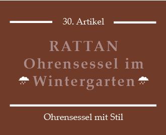 Brauner Rattan-Ohrensessel im Wintergarten