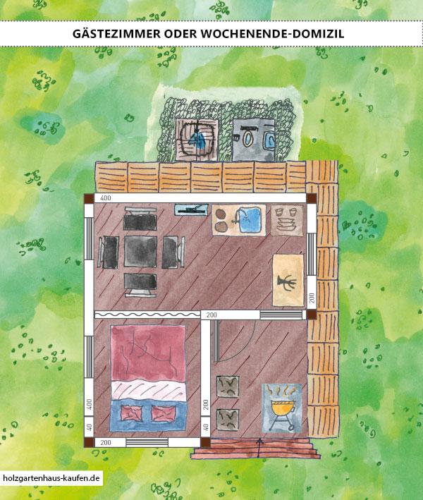 Gartenhaus Gästehaus mit Outdoorsesseln